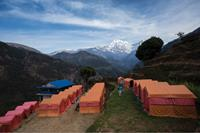 World Expeditions private eco campsites at Landruk in the Annapurna region, Nepal.
