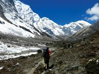 Icy mountain side while trekking towards Tashi Labsta - Parchemuche Tsho, Nepal
