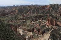 Hike the trails winding through the Binggou Danxia Geopark
