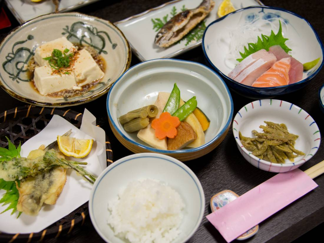 Evening ryokan meal during the Kumano Kodo hike