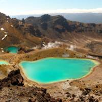 Admiring the vivid Emerald Lakes on the Tongariro Crossing