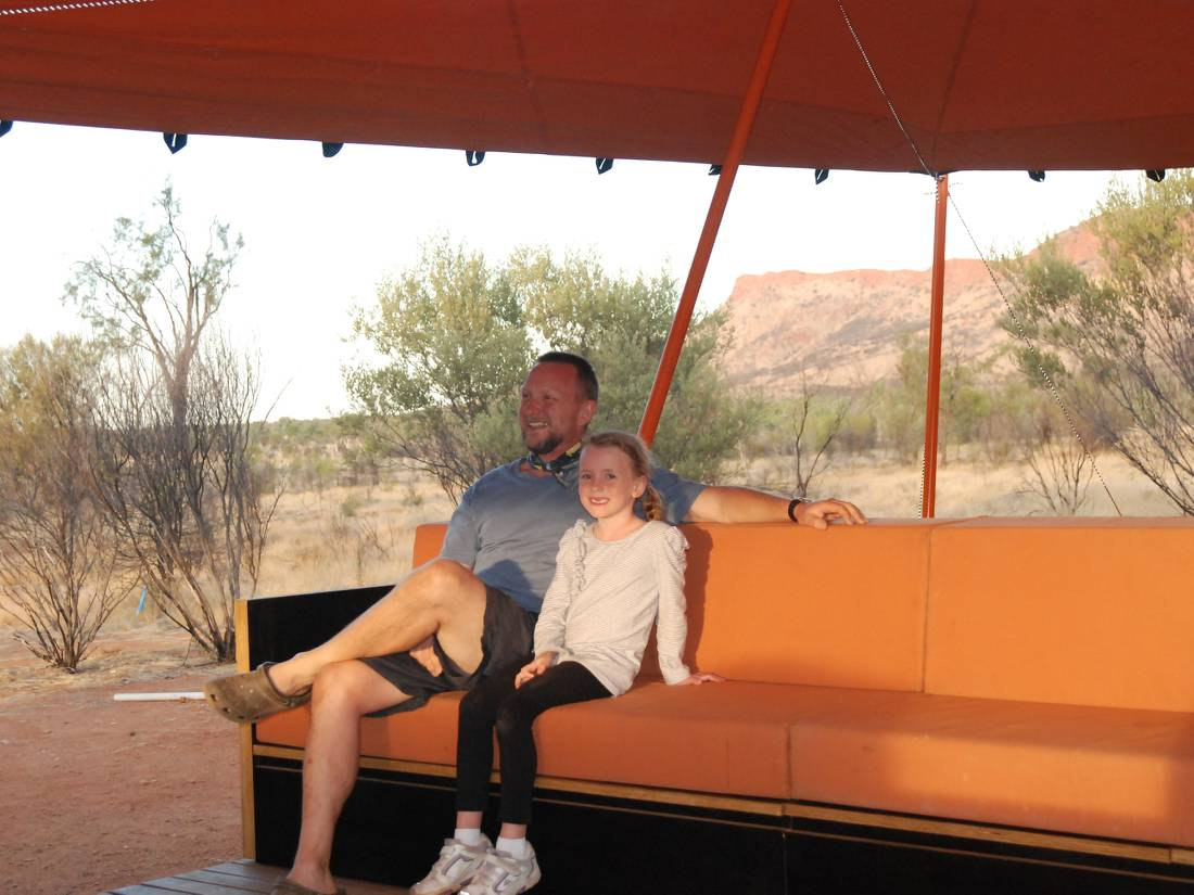 The Larapinta Semi-Permanent camps have a stunning lounge with great views over the Ranges |  <i>Chris Buykx</i>