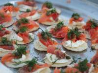Smoked salmon canapes served at Charlie's camp on day 2 Classic Larapinta Trek in Comfort. |  <i>Ayla Rowe</i>