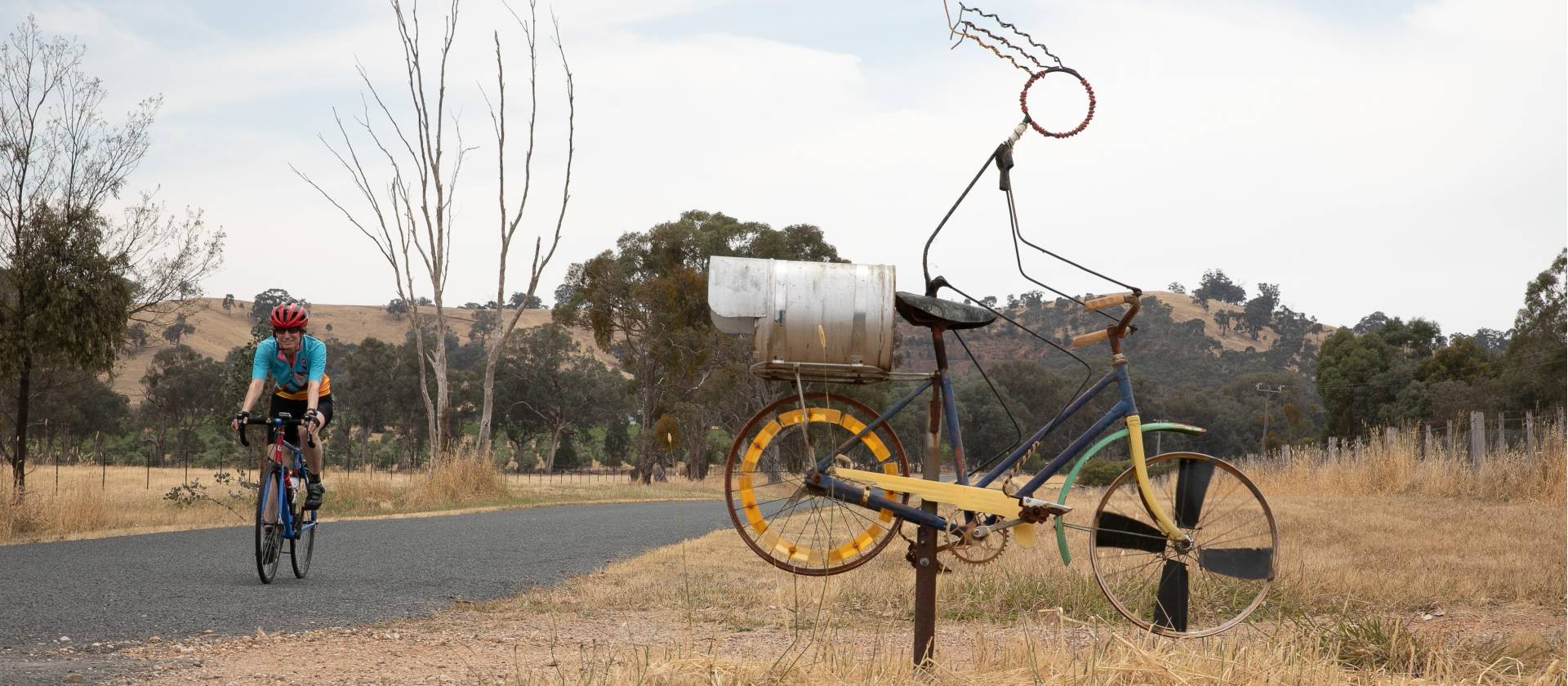 You'll encounter interesting cyclists on the Murray to the Mountains rail trail |  <i>Bruce Baker</i>