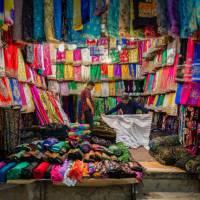 Colourful array of fabrics in Vakil Bazaar | Richard I'Anson