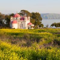 The Greek Orthodox Church of the Holy Apostles overlooking the Sea of Galilee