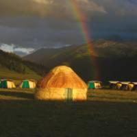Magical camp spot on the mountain biking trip, Kazakhstan