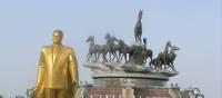 Golden Statue of Niyazov in Ashgabat, Turkmenistan | Kathy Kostos
