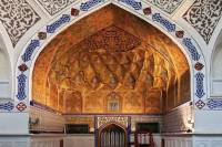 Ornate interior at Bukhara's Bolo Hauz Mosque |  <i>Peter Walton</i>