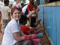 Taking a break during a school renovation project in Cambodia