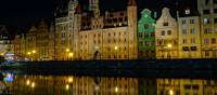 The famous Old Town of Gdansk at night