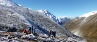 Trekkers taking a breather before continuing through to Jangothang | Gavin Turner