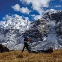Basking in the sun in Lhonak | Michelle Landry