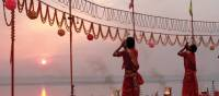 Morning ceremony offering thanks along the banks of the Ganges | Rachel Imber