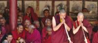 Gathered men at the festival at Hemis, Ladakh | Adam Mussolum