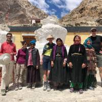 Trekkers pose with locals from Skiu village in Ladakh | Brad Atwal
