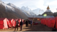 Trekkers admiring the views from World Expeditions' private camp at Dingboche |  <i>Kylie Turner</i>