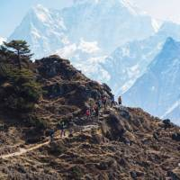 The trail to Thyangboche winds past the face of Ama Dablam | Mark Tipple