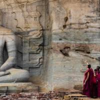 Novice monks at Polonnaruwa   Richard I'Anson