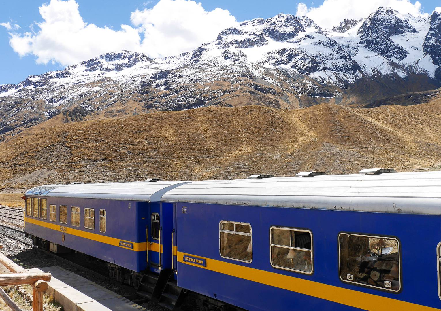 A stop at La Raya 4335 metres, the highest point on the Cusco to Puno Train |  <i>Natalie Tambolash</i>