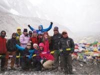 Trekkers posing for the camera at Everest base camp |  <i>Sally Imber</i>