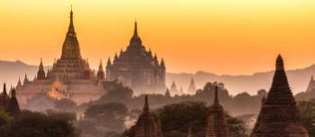 Mist rises over the enchanting Bagan, Myanmar