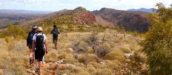 The Larapinta Trail traverses the high ridgelines of the Chewings Range | Sue Badyari