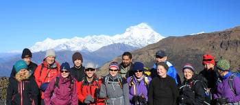 Group shot in front of Dhaulagiri | Brad Atwal