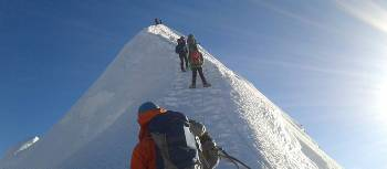 Climbers make their way to the summit of Island Peak | Bir Singh Gurung