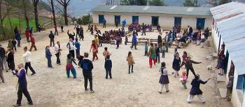 Lura School students in the playground before the earthquake struck | Soren Kruse Ledet